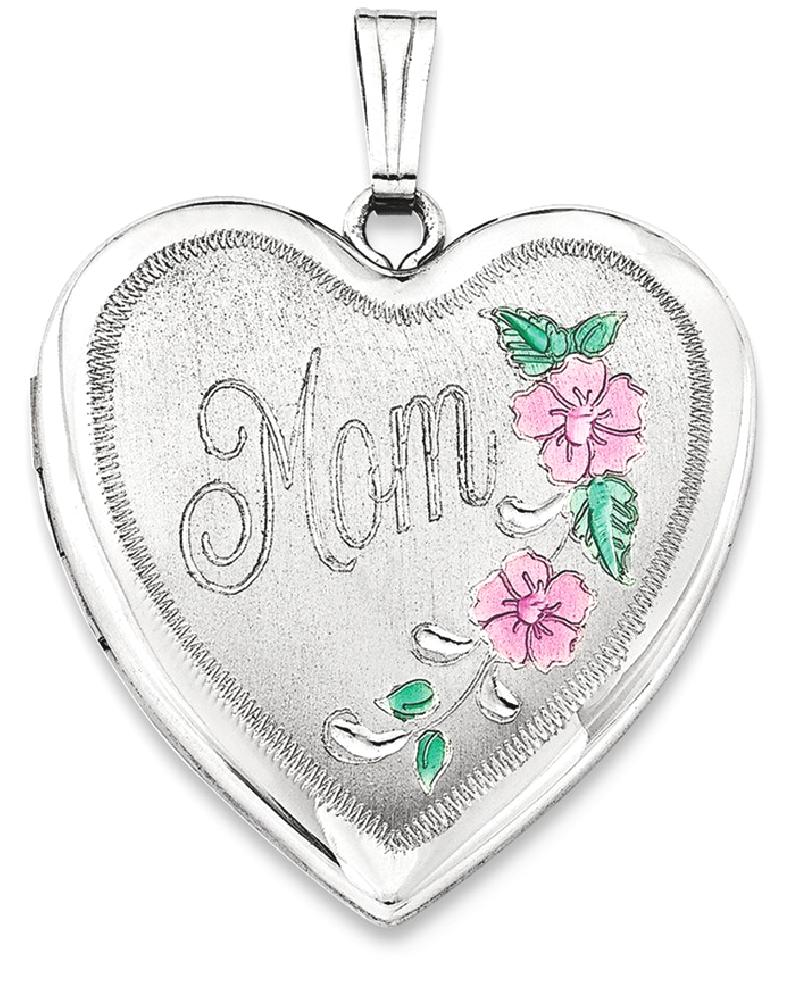 IceCarats 925 Sterling Silver 24mm Enameled Floral Mom Heart Photo Pendant Charm Locket Chain Necklace That Holds... by IceCarats
