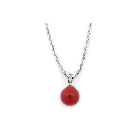 Solid Sterling Silver Rhodium Plated 6mm Simulated Dark Red Coral Pendant Necklace, 16