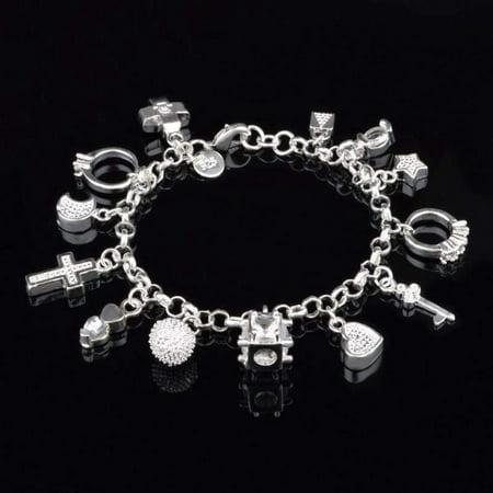 Acrylic Silver Bracelet - CLEARANCE - My Charmed Life - Silver Charm Bracelet silver