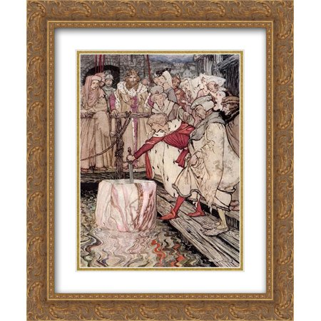 Arthur Rackham 2x Matted 20x24 Gold Ornate Framed Art Print 'Galahad draws the sword from the floating (Archimedes From The Sword In The Stone)
