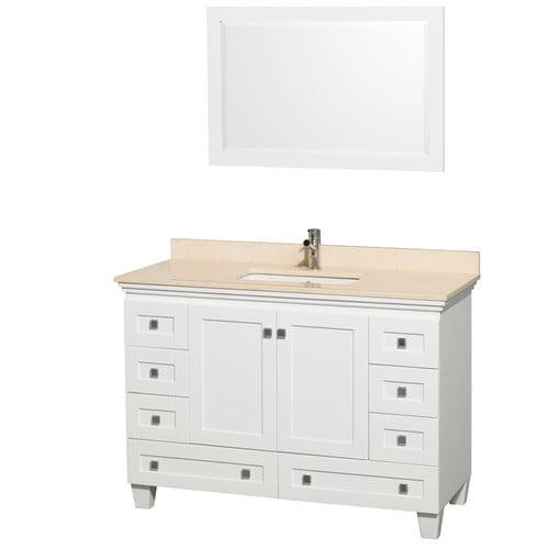 Wyndham Collection Acclaim 48'' Single White Bathroom Vanity Set with Mirror