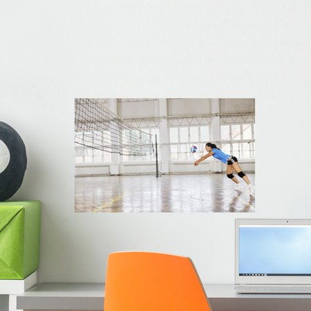 Girls Playing Volleyball Indoor Wall Mural by Wallmonkeys Peel and Stick Graphic (18 in W x 11 in H)