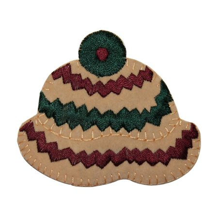 Felting Fashion (ID 7702 Felt Striped Winter Hat Patch Knit Fashion Embroidered Iron On Applique )