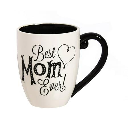 Cypress Home Black Ink Best Mom Ever 18 oz Ceramic Cup O Joe Coffee Mug or Tea Cup - 4W x 5.75D x 5H