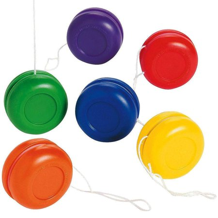 Mini Plastic Yo-Yos 1.25 Inches - Pack Of 16 - Assorted Colors Fun Small Plastic Yoyos - For Kids Great Party Favors, Bag Stuffers, Fun, Toy, Gift, Prize - By Kidsco (Yoyo Toys)