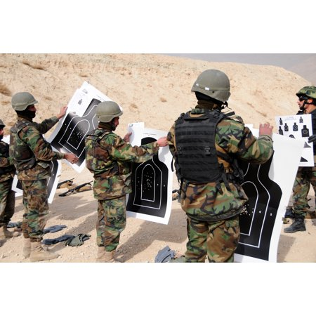 LAMINATED POSTER 100114-F1020B-033 KABUL-Afghan National Army Air Corps (ANAAC) trainees review their targets after a Poster Print 24 x 36 - After Halloween Sale Target