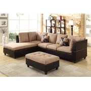 3-Pc Sectional Set with Ottoman in Saddle Finish