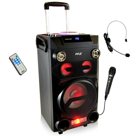 PYLE PWMA335BT - Portable Bluetooth Karaoke Speaker System - PA Loudspeaker with Flashing DJ Lights, Built-in Rechargeable Battery, FM Radio, MP3/USB/Micro - High Frequency Loudspeaker
