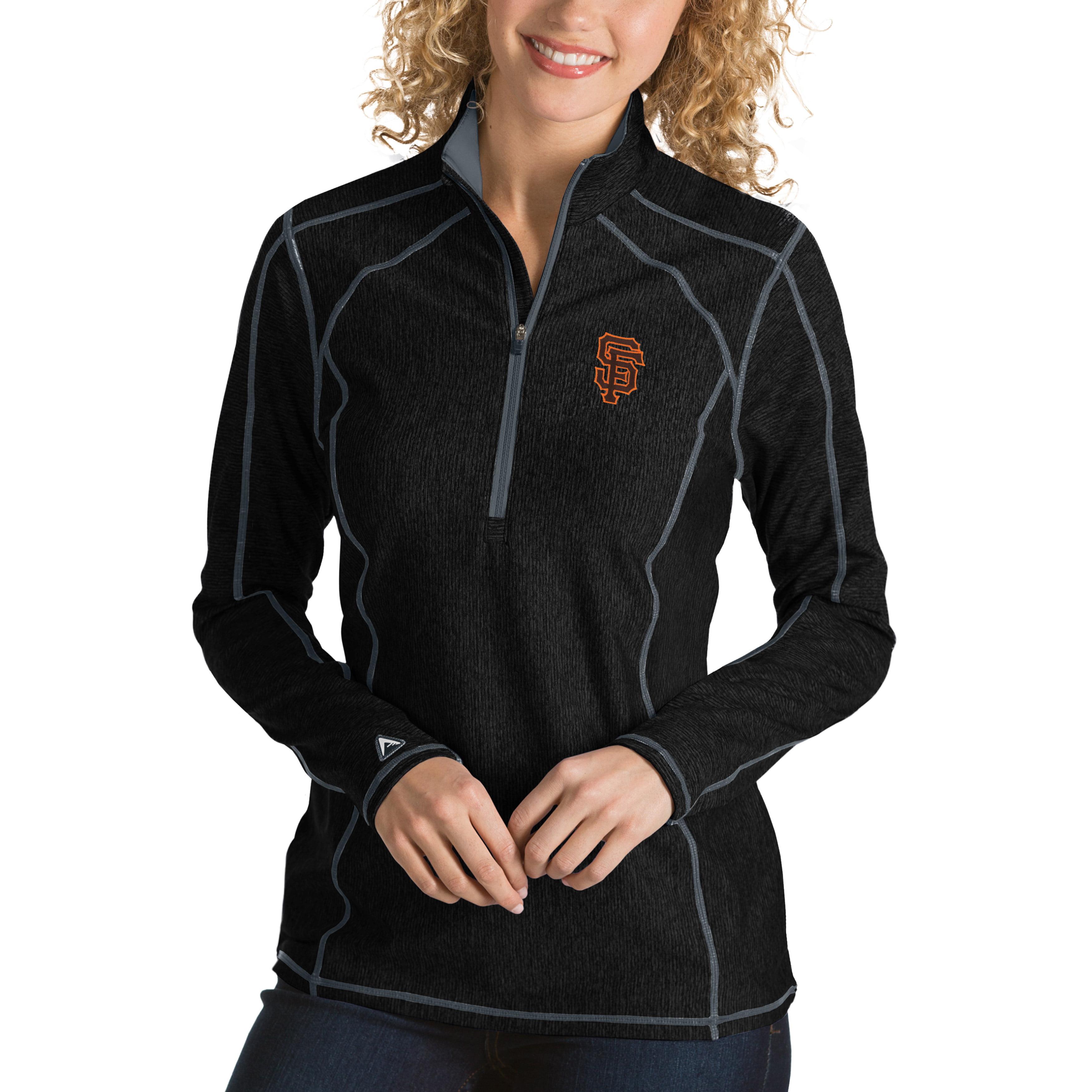 San Francisco Giants Antigua Women's Tempo Desert Dry 1/4-Zip Pullover Jacket - Heathered Black