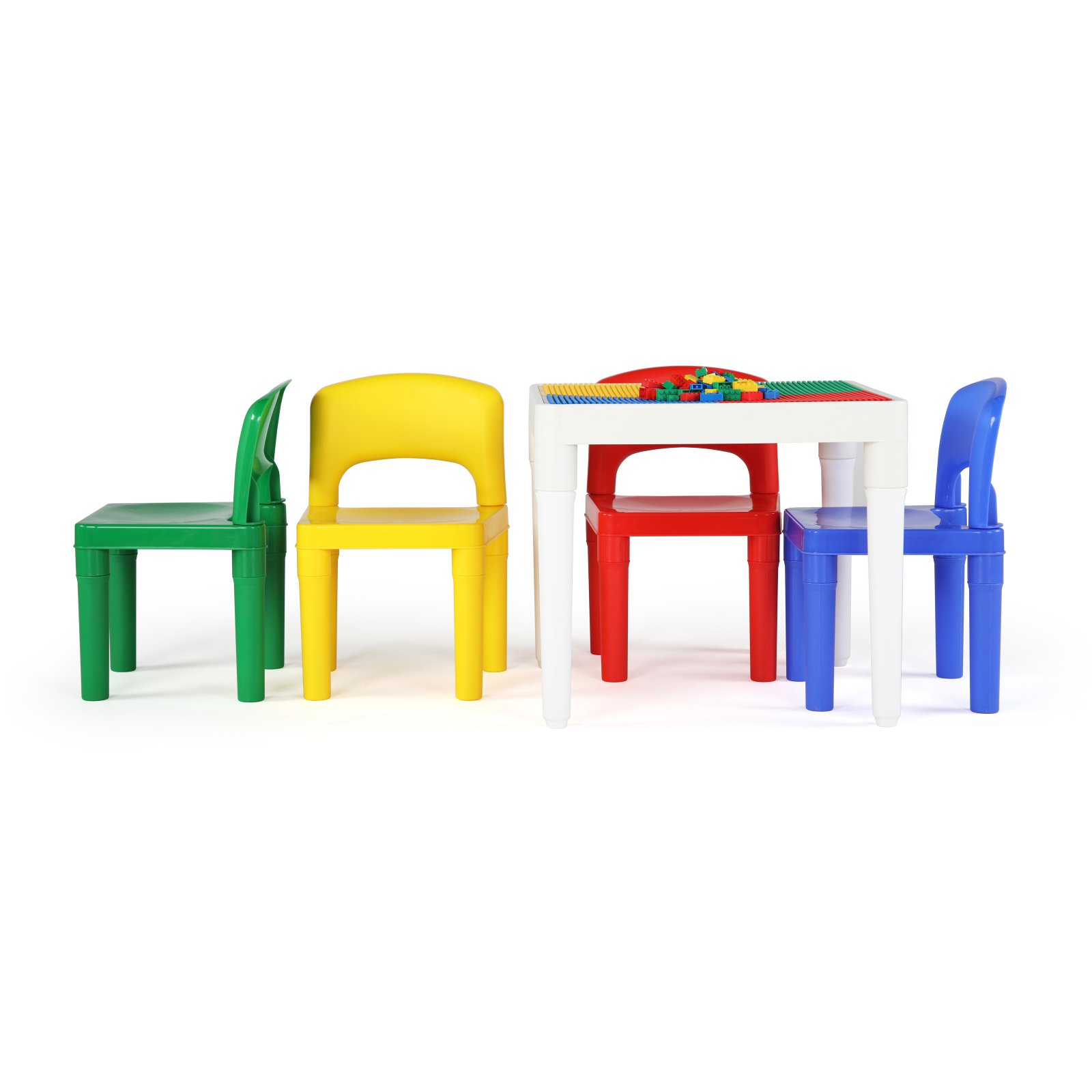 Tot Tutors 2-in-1 Plastic LEGO-Compatible Square Construction Table and 4 Chairs Set, White/Primary