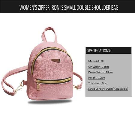 Women Backpack Purse Pu Washed Leather Ladies Rucksack Shoulder Bag Pink - image 4 of 9