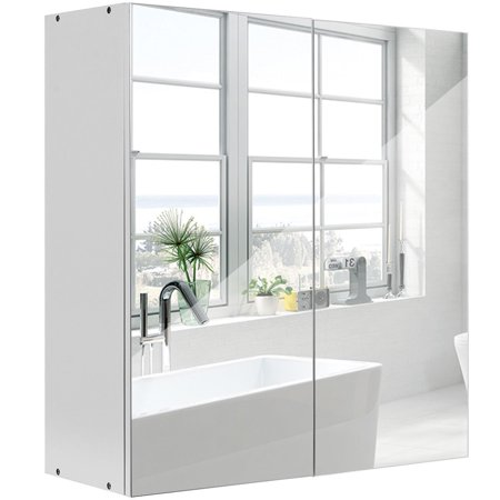 Gymax 24'' Wide Wall Mount Mirrored Bathroom Medicine ...
