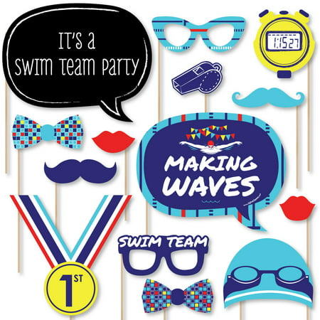 Making Waves - Swim Team - Swimming Party or Birthday Party Photo Booth Props Kit - 20 - Team Umizoomi Birthday Supplies