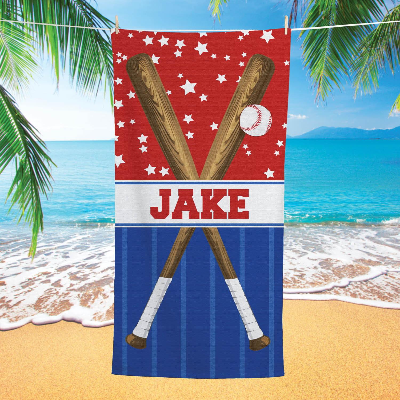 Baseball Star Personalized Beach Towel