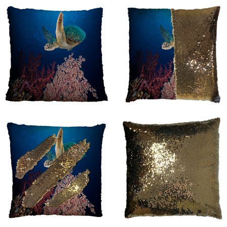 GCKG Underwater Ocean Animal Pillowcase, Sea Turtle at the Coral Reef Reversible Mermaid Sequin Pillow Case Home Decor Cushion Cover 16x16 inches