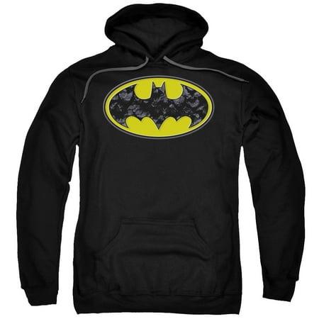 Batman Bats In Logo Mens Pullover Hoodie (Mens Batman Hoodie)