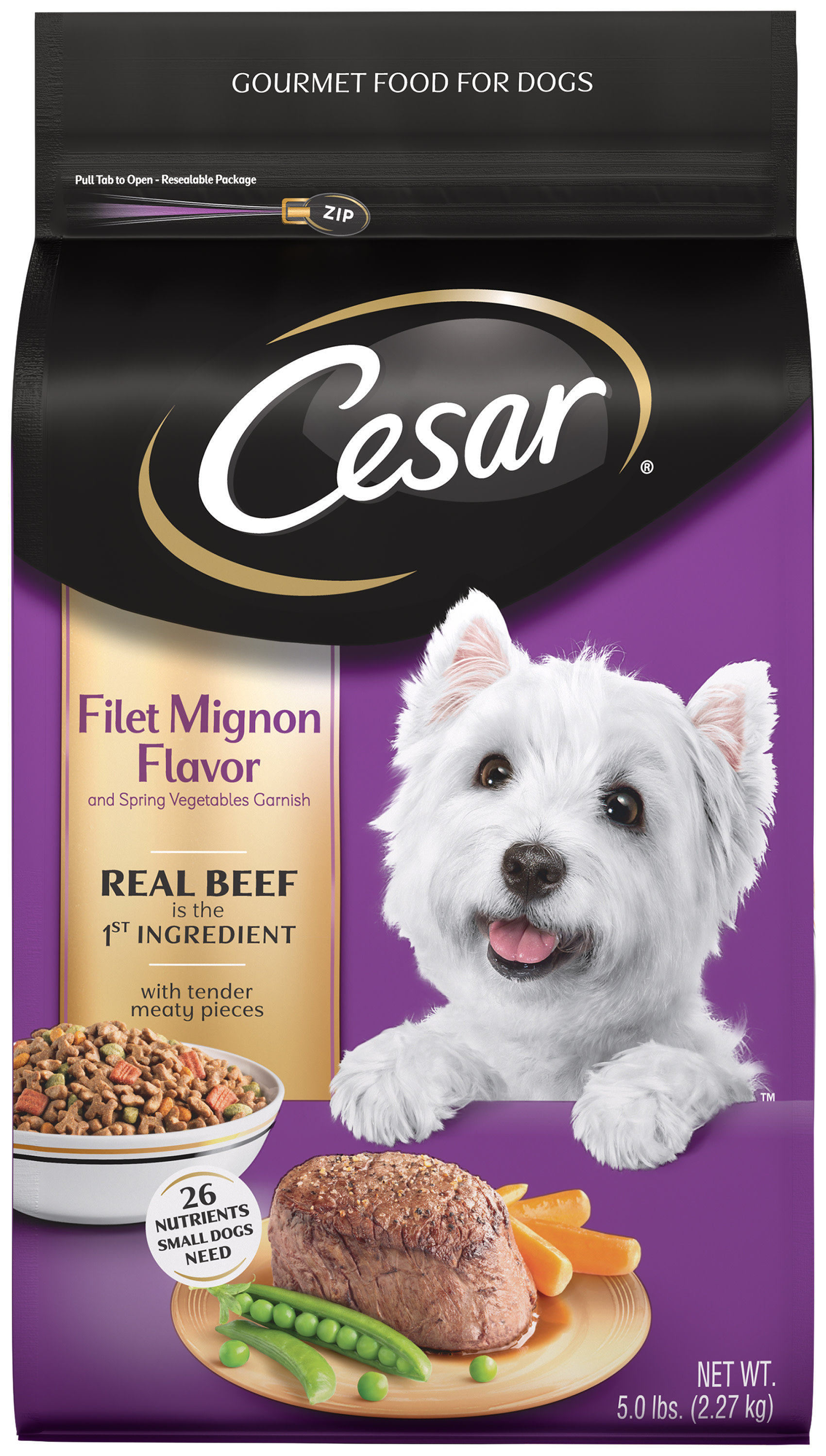 CESAR Small Breed Dry Dog Food Filet Mignon Flavor with Spring Vegetables Garnish, 5 lb. Bag by Mars Petcare