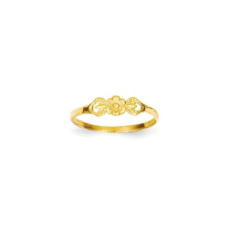 14k Yellow Gold Flower Baby Band Ring Size 5.00 Gifts For Women For Her