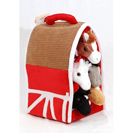 Plush Horse Barn with Horses - Five (5) Stuffed Animal Horses in Play Carrying Barn Case](Stuffed Animal Horses)