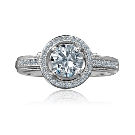 Diamond Micro Pave Ring (3/4 CT. Round Stunning Vintage Micro Pave Floating Halo Simulated Diamond Engagement/Wedding Sterling Silver Ring )