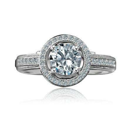 3/4 CT. Round Stunning Vintage Micro Pave Floating Halo Simulated Diamond Engagement/Wedding Sterling Silver Ring Diamond Micro Pave Ring