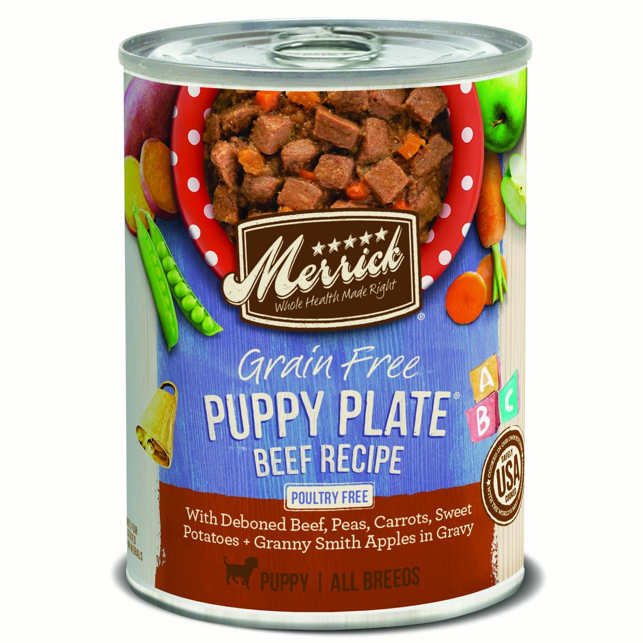 Merrick Puppy Plate Grain-Free Beef Recipe Wet Dog Food, 12.7 Oz, 12 Ct
