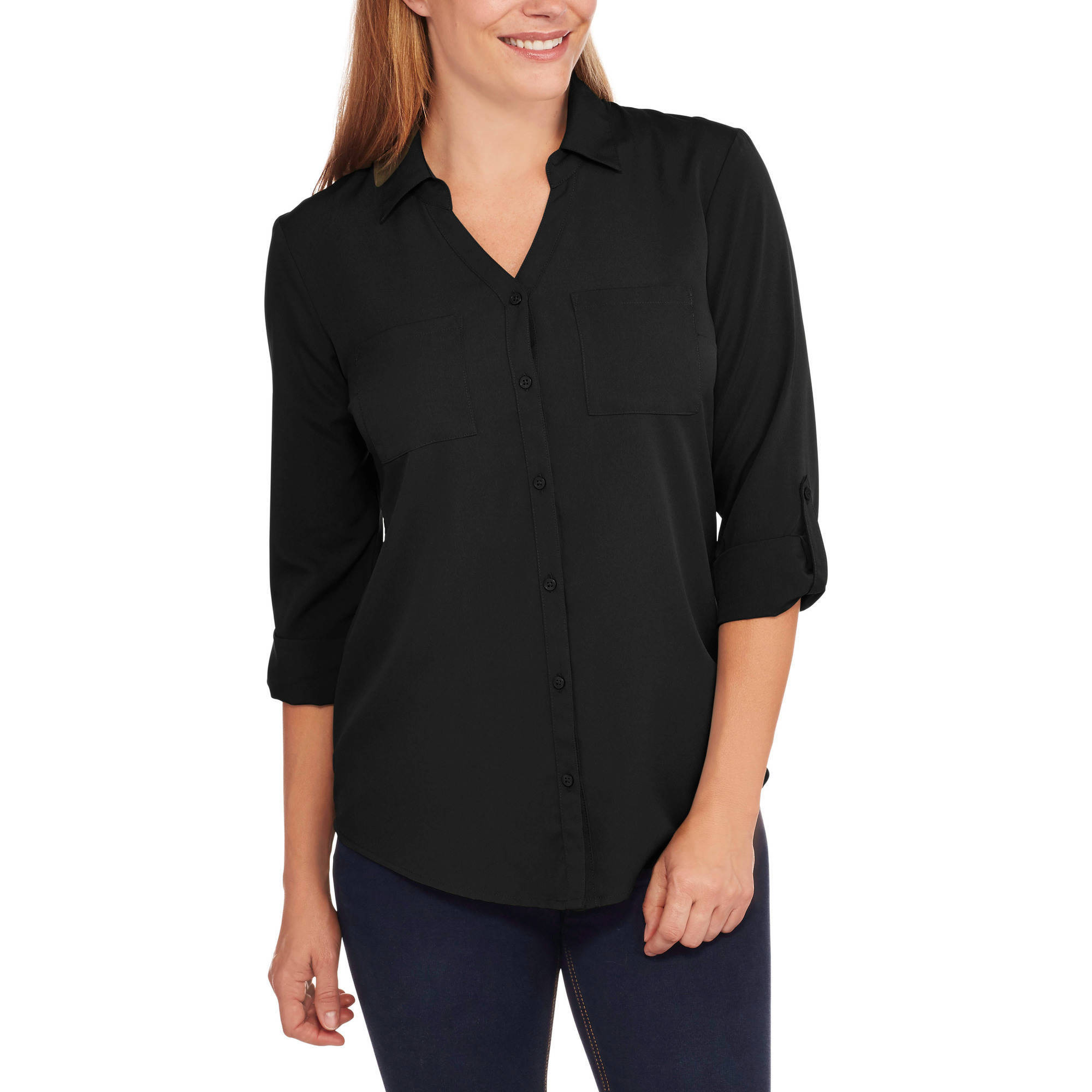 Faded Glory Women's Pocket Roll Sleeve Shirt