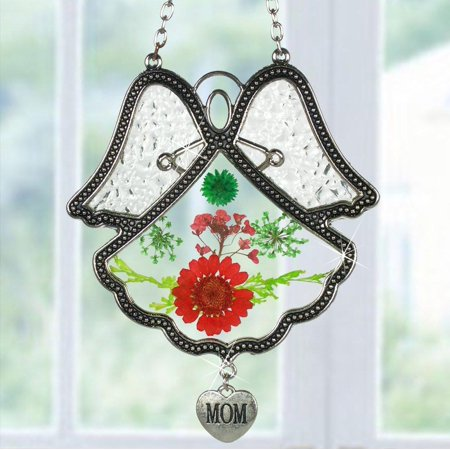 Mom Angel Suncatcher Silver Metal & Glass with Pressed Flower Wings & Hanging Heart Shaped Charm - 4.5 Inch ()