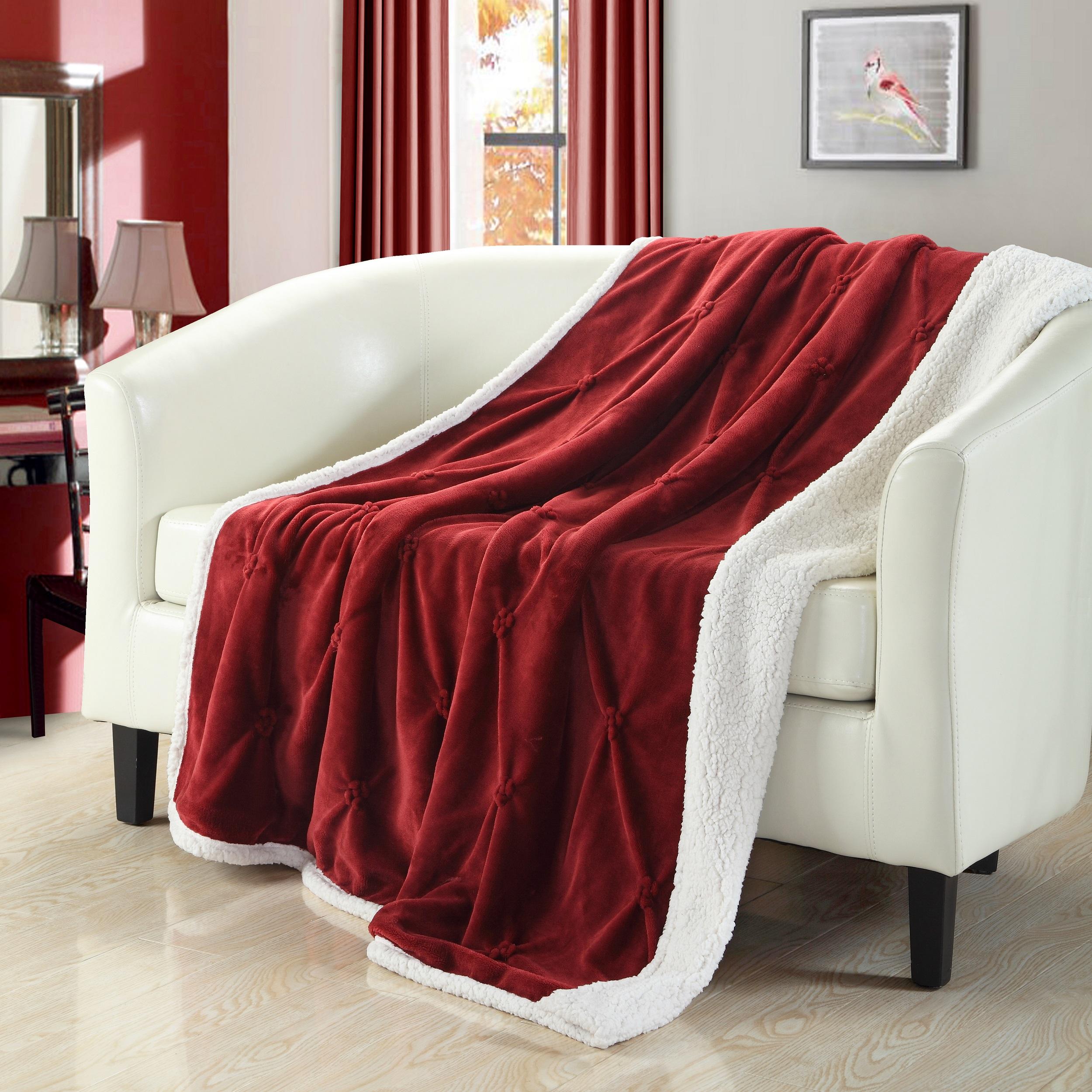 Chic Home 1-Piece Barbuda Pinch Pleated Throw Blanket Sherpa Blanket