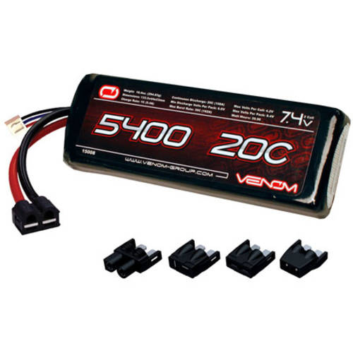 Venom LiPo Battery for Traxxas Rustler 20C 7.4 5400mAh 2S with Universal Plug System