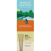 """World Centric Compostable Kraft Paper Straws, 8"""", 50 Count"""