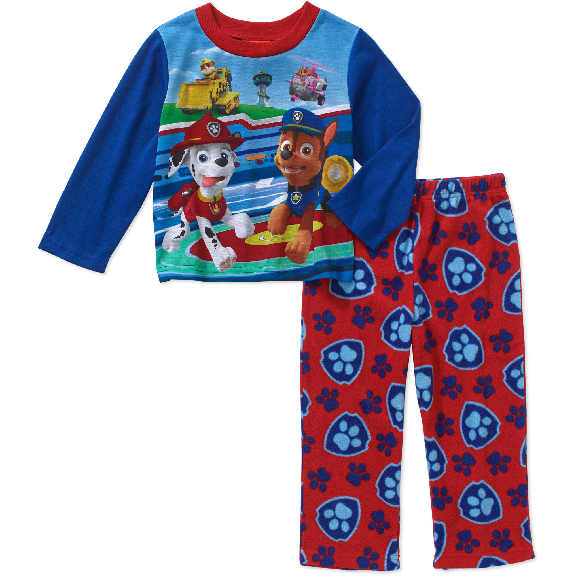Paw Patrol Toddler Boys' Long Sleeve Top with Fleece Pants Pajama 2 Piece Set