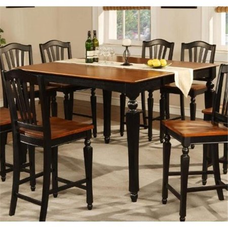 East West CT-BLK-T Chelsea Gathering 54 in. square counter height dining table with 18 in. butterfly leaf, Black & Cherry