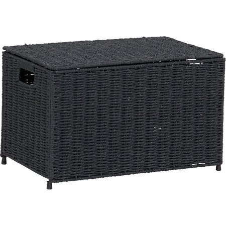 HOUSEHOLD ESSENTIALS Decorative Wicker Paper Rope Storage Chest](Wicker Storage Basket)