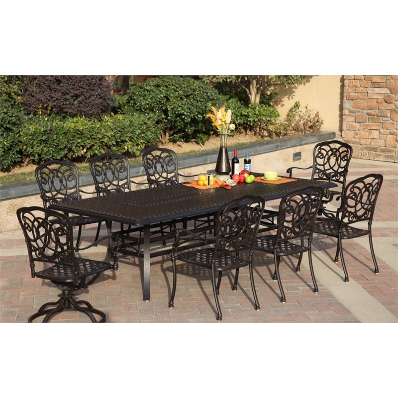Darlee Florence 9 Piece Patio Dining Set with Seat Cushion