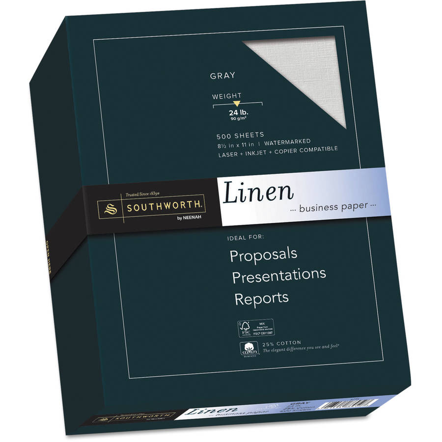 Southworth 25 Percent Cotton Fine Linen Paper, 24 lbs, 8-1/2 x 11, 500/Box