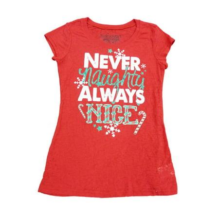 Rocker Girl Junior Women Red Naughty Nice Christmas Semi Sheer Fitted Shirt - Naught School Girls