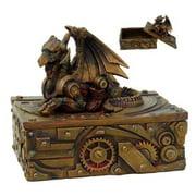 5 Inch Steampunk Dragon Topped Mechanical Box Statue Figurine