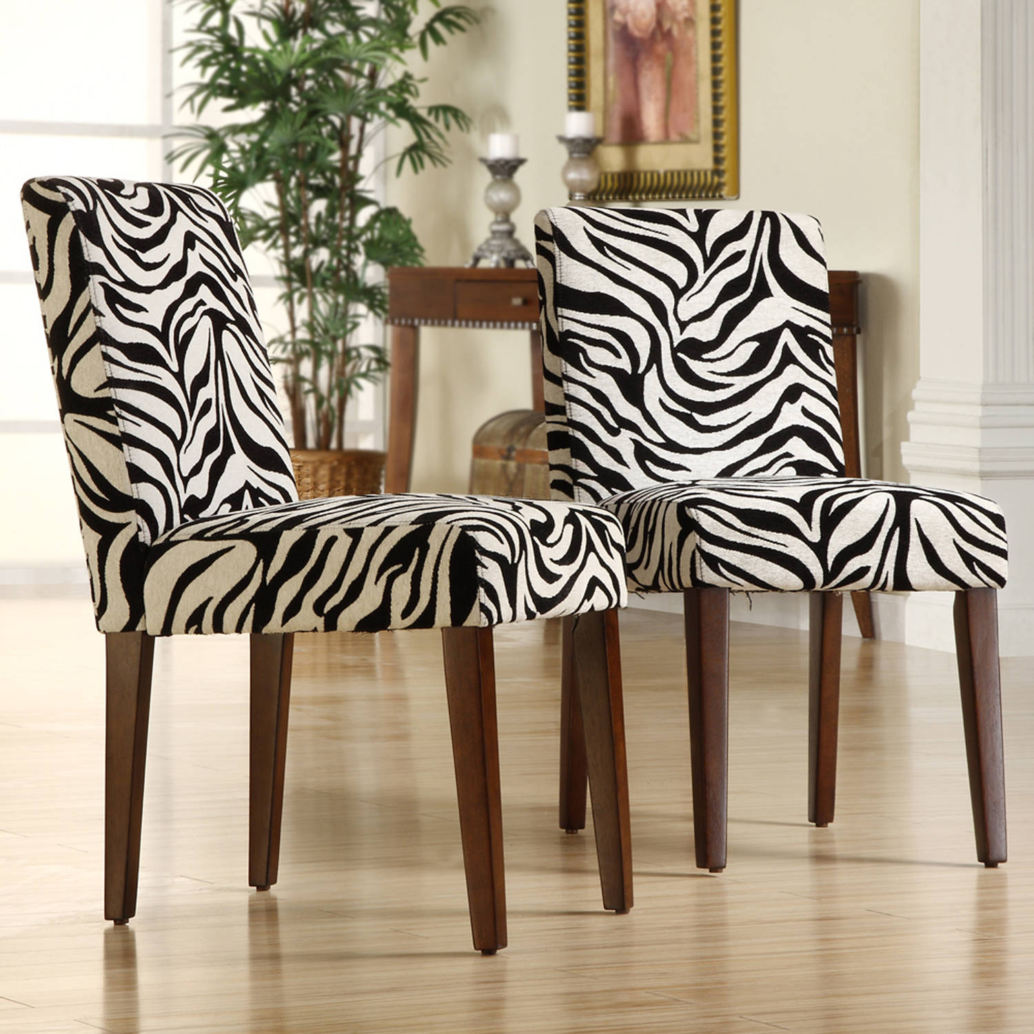Top Line Noah Zebra Print Chair, Set of 2