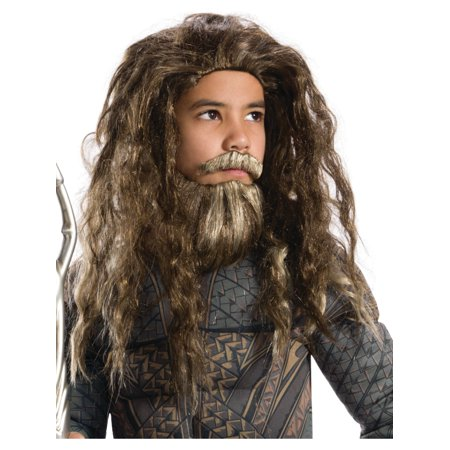 Justice League Aquaman Boys Wig And Beard Set Costume Accessory