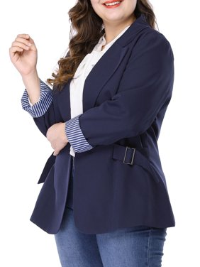 Women's Plus Size Notched Lapel Contrast Stripe Cuff Blazer