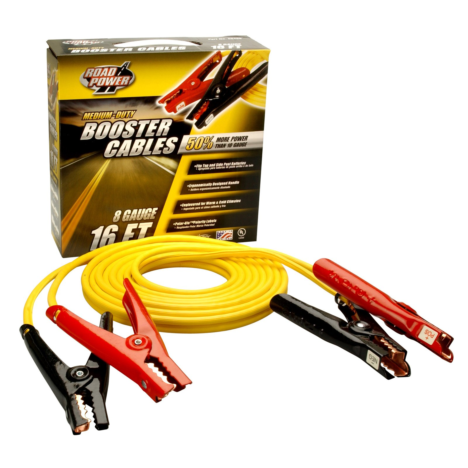Coleman Cable 08466 16' Medium-Duty Booster Cables, 8-Gauge