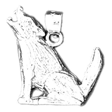 14K White Gold Wolf Pendant - 20 mm - Wolf Pendant