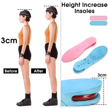 1 Pair Unisex Height Increase Insole Sport Shoe Pad Air Cushion Comfortable Insoles Height Lift 3cm Men & Women for 35-45 yards Length 27cm/10.63'' - Inflatable Shoes
