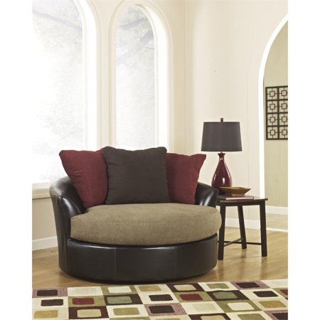 Ashley Sanya Oversized Swivel Accent Faux Leather Chair In Mocha