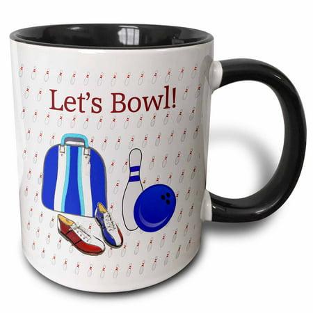 Super Bowl Mugs (3dRose Lets Bowl, Bowling Ball, Pins, Shoes, and Bag, Blue, Aqua, Red - Two Tone Black Mug,)