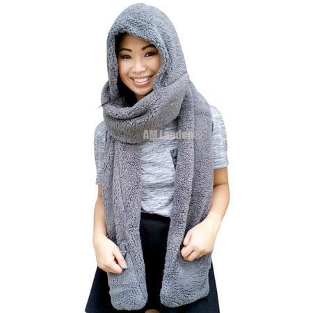 AM Landen Ladies Wool Velvet Soft All In One Soft Hood Hats Scarf Gloves(Gray) Embroidered Velvet Scarf
