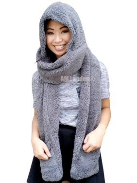 3ba8eb9cb4b Product Image AM Landen Ladies Wool Velvet Soft All In One Soft Hood Hats  Scarf Gloves(Gray