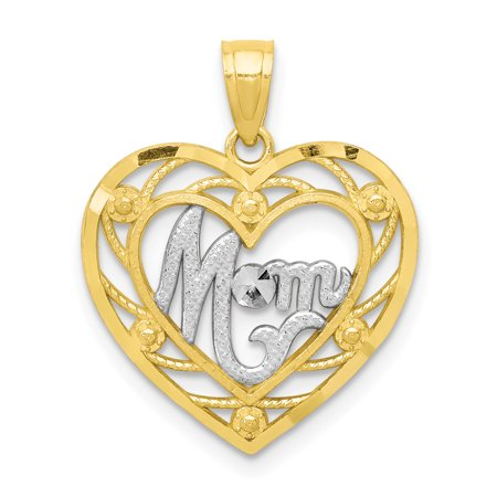 10k Gold Circle Heart Pendant - 10k Yellow Gold Mom Heart Pendant Charm Necklace Special Person Gifts For Women For Her