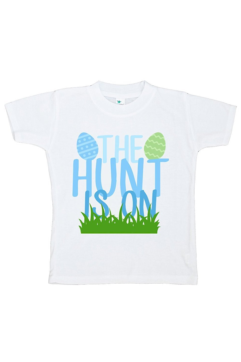 Custom Party Shop The Hunt Is On Boy's Novelty Easter Tshirt - Green And Blue / 3T Shirt